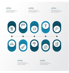 Navigation icons line style set with exclamation vector