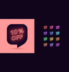neon discount tag 10 percentage off offer sale vector image