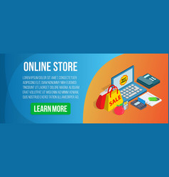 online store concept banner isometric style vector image