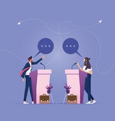 open debates-two business people debate on stage vector image