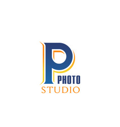 p letter icon for photo studio vector image