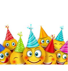 party background with set smile emoji characters vector image