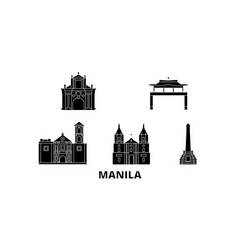 Philippines manila flat travel skyline set vector