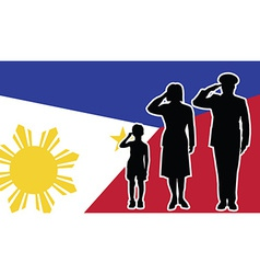 Philippines soldier family salute vector