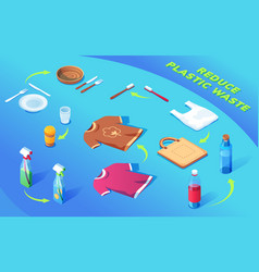 plastic products recycle with arrows reduce waste vector image