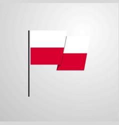 Poland waving flag design background vector