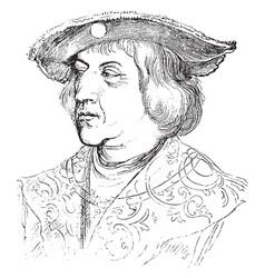 Portrait triumphal arch woodcut vintage engraving vector