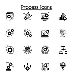 process data analysis icon set vector image
