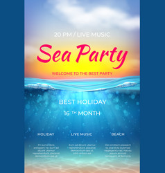 Realistic summer poster pool party design ocean vector