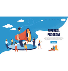 Referral marketing landing page loudspeaker vector