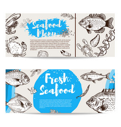 Seafood flyer template fish shrimps oyster vector