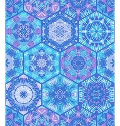 Seamless blue hexagons background vector
