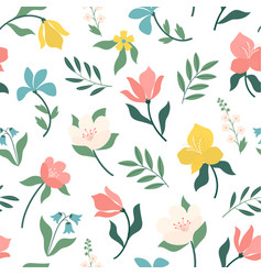 seamless bright scandinavian floral pattern great vector image