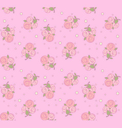 seamless pattern from roses with pink outline vector image