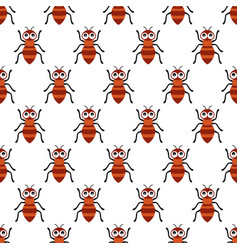 Seamless pattern with cartoon ants on white vector