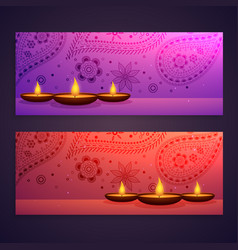 Set diwali festival banners vector