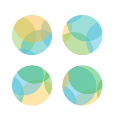 Set of colorful abstract layered round shapes vector
