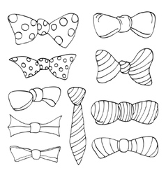 Set of colorful bow tie in different colors vector image