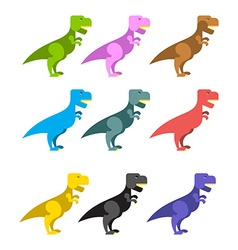 Set of colorful dinosaurs Tyrannosaurus Rex Cute vector