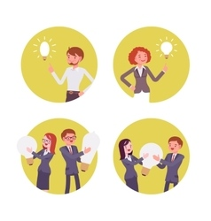 Set of four scenes women and men with lamp vector