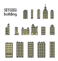 Set of pixel building skyscraper vector