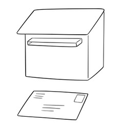 set postbox and envelope vector image