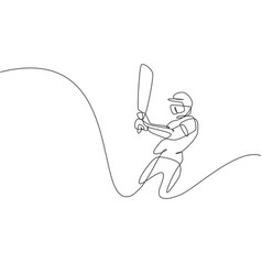 single continuous line drawing young agile man vector image