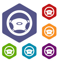 Steering wheel icons set vector