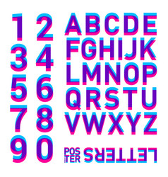 Stereo alphabet stereoscopic letters and numbers vector