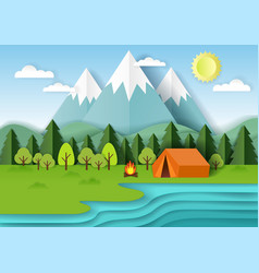 summer camping paper cut vector image