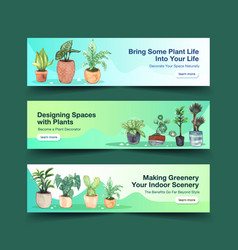 Summer plants banner template design vector