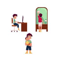 Teen boy household activities set vector