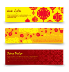 Traditional asian banners template chinese vector