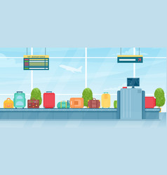 Travel suitcases on baggage conveyor belt in vector