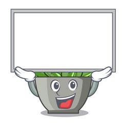 up board character cartoon pot plant echeveria vector image