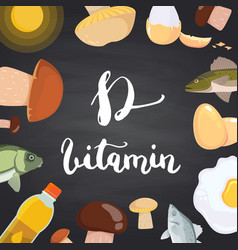vitamin d elements mushrooms eggs sun vector image