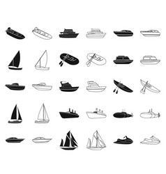 water and sea transport blackoutline icons in set vector image