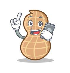 With phone peanut character cartoon style vector