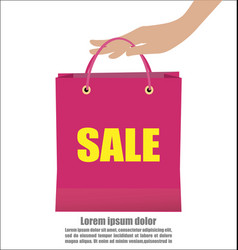 Woman hand holding colorful shopping bag show vector