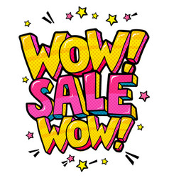 wow sale message in pop art style vector image