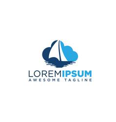 yacht cloudshape logo design vector image
