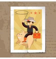 Businessman riding on piggy bank vector image