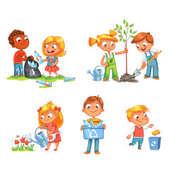 ecological kids design funny cartoon character vector image vector image