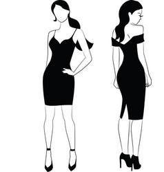 elegant woman in little black dress vector image vector image