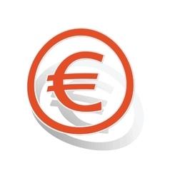 Euro sign sticker orange vector image vector image