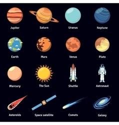 Multicolored cosmos icon set vector image