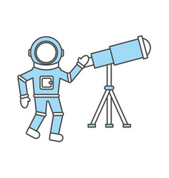 Astronaut with telescope comic character icon vector