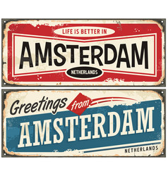 Greetings from amsterdam vector