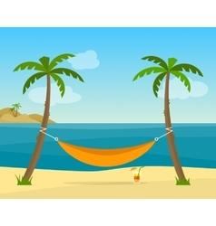 Hammock with palm trees on beach vector