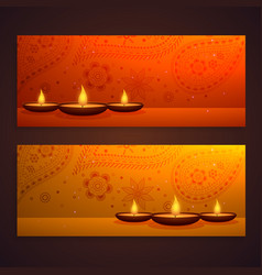 set of beautiful diwali banners with diya and vector image